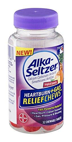 Alka-Seltzer antiacide brûlures d'estomac + gaz secours mâche Tropical Punch - 32 ea (Pack de 3)