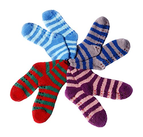 Fuzzy Socks Dot (Soft Warm and Thick Slipper Socks - Non Skid Socks with Anti Slip Dots - Comfortable for Women or Men)