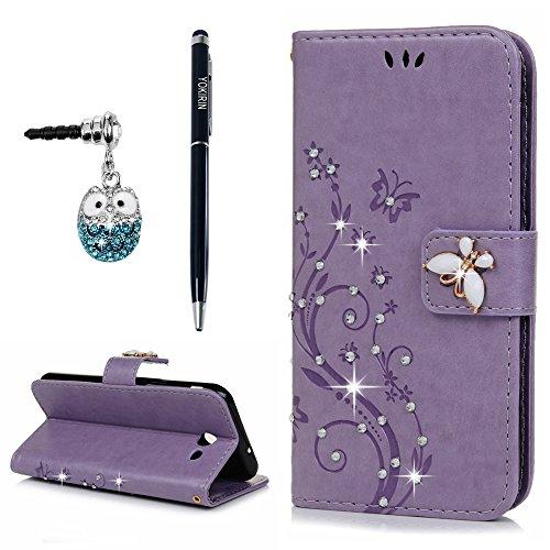 Galaxy J3 2017 Case, J3 Emerge Case, J3 Prime Wallet Case, YOKIRIN Luxury 3D Handmade Bling Crystal Rhinestone Embossed Floral Butterfly PU Leather Fl…