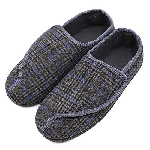 Hotme Men's Memory Foam Diabetic Slippers with Adjustable Closures,Extra Wide Width Comfy Warm Plush Fleece Arthritis Edema Swollen House Shoes Indoor/Outdoor (Extra Extra Wide Shoes For Swollen Feet)