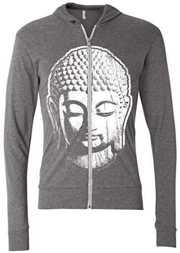 Head Zip Hoodie - Mens Big Buddha Head Full-Zip Hoodie, Medium Grey Triblend