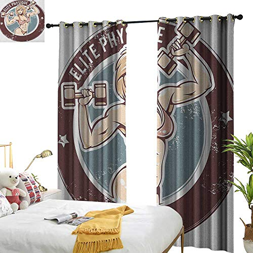 Littletonhome Simple Curtain Fitness Retro Style Sexy Lady with Dumbbells Elite Physique Grunge Display Set of Two Panels W108 x L96 Chocolate Pale Pink Blue