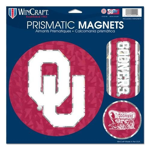 - Wincraft NCAA Oklahoma Sooners Prismatic Magnets Sheet, 11