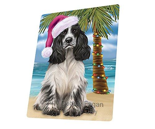 Summertime Happy Holidays Christmas Cocker Spaniel Dog on Tropical Island Beach Art Portrait Print Woven Throw Sherpa Plush Fleece Blanket D168 (54x38 (Cocker Spaniel Tapestry Throw)