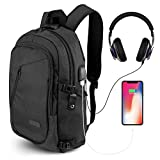 ONSON Anti Theft Laptop Backpack, Business Water Resistant Backpack Travel Bag with USB Charging Port & Headphone interface for Men&Women College Student,Fits 15.6 Inch Laptop & Notebook - Black