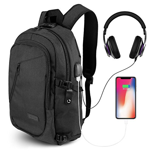 ONSON Anti Theft Laptop Backpack, Business Water Resistant Backpack Travel Bag with USB Charging Port & Headphone interface for Men&Women College Student,Fits 15.6 Inch Laptop & Notebook - Black (Private Day Trip)