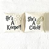 He's A Keeper/She's A Catch Pillow Cover Set - Home Decor, Gift for Women, Gift for Him, Gift for Her, Anniversary Gift, Wedding Gift, Book Lover