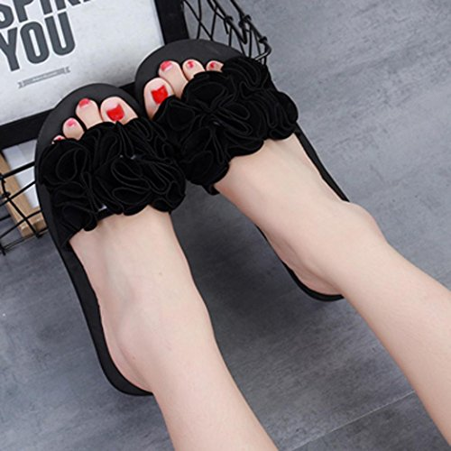 Slipper Strandschuhe Damen Flach Schwarz Blumen Damen Sandals PLOT Sandalen Schuhe mit Schuhe Badeschuhe Neu 2018 Sommer Draussen P6STnwRq