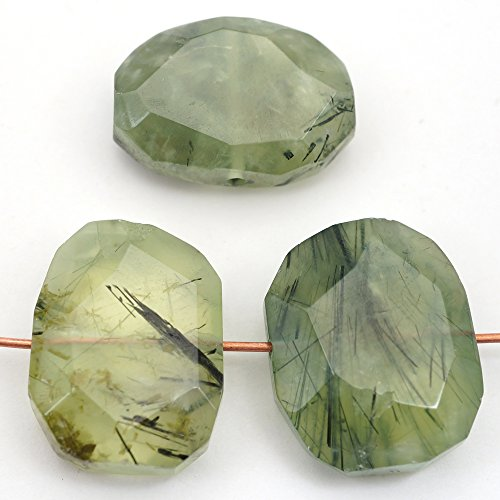 3 Pcs Flat Faceted Side Drilled Green and Black Prehnite Beads Average Size 20mm (Nugget Beads Prehnite)