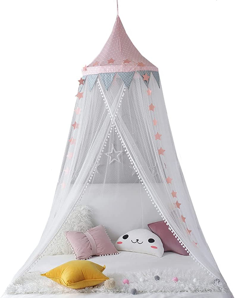 Mosquitera para Cama con Dosel para Niñas Dormitorio Niños Cama Dosel Niños Princesa Cama Cúpula Colgante Mosquiteras Carpa Transpirable para Hamacas Cunas Fácil Instalac Pink