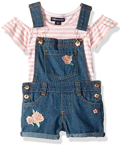 Limited Too Baby Girls Cold Shoulder Stripe Top and Shortall Set, Roses Multi, 24M