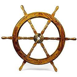 Nautical Handcrafted Wooden Ship Wheel - Home Wall Decor - Nagina International (30 Inches, Natural Wood)