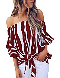 Women's Striped Off Shoulder Bell Sleeve Shirt Tie Knot...