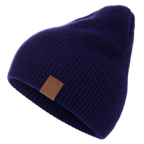 7 Colors PU Letter True Casual Beanies for Men Women Girl Boy Knitted Winter Hat,Dark ()