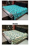 Blue Reversible Luxury Southwest Queen Bedspread 4D