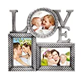 Deco De Ville 3 Opening ''LOVE'' Theme Plastic Decorative Antique Silver Puzzle Collage Picture Photo Frame, Wall Hanging, Silver