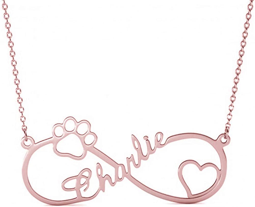 Elefezar Personalized 925 Sterling Silver Infinity Dog Paw Name Necklace Custom Any Names for Women