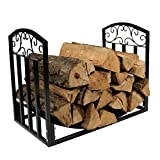 New Black 2ft Firewood Log Rack Heavy Duty Wood Storage Holder