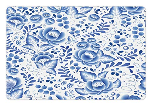 Ambesonne Vintage Blue Pet Mat for Food and Water, Chinese Style Traditional Motif Floral Pattern with Berries Leaves, Rectangle Non-Slip Rubber Mat for Dogs and Cats, Cobalt Blue and White
