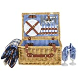 Nova Microdermabrasion Picnic Basket for 2 Person Wicker Hamper set with Tableware & Waterproof Picnic Blanket, Plates, Glasses