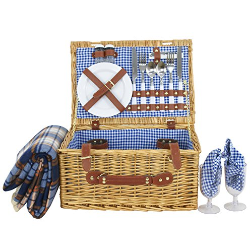 Nova Microdermabrasion Picnic Basket for 2 Person Wicker Hamper set with Tableware & Waterproof Picnic Blanket, Plates, Glasses by Nova Microdermabrasion