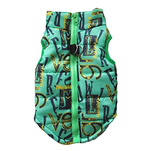 Pet Camouflage Cold Weather Coat, Small Dog Vest Harness Puppy Winter Padded Outfit Warm Garment (L, Green) - Dog Coats Uk