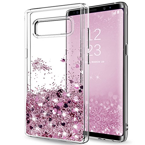 LeYi ZY101416 Clear Glitter Bling Liquid Case for Girls/Women, Cute Design Shiny Moving Quicksand TPU Protective Phone Case Cover for Samsung Galaxy Note 8 (2017 Version) ZX - Rose Gold