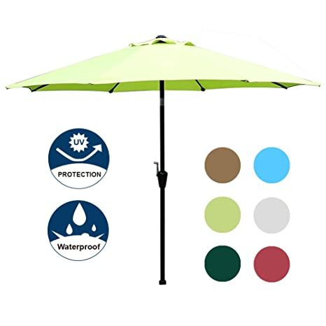 Blissun 9' Outdoor Market Patio Umbrella with Auto Tilt and Crank, 8 Ribs  (Light Green)