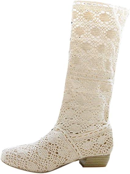 LuckyGirls Botas Mujer Moteras de Caña Alta Zapatillas Crochet ...