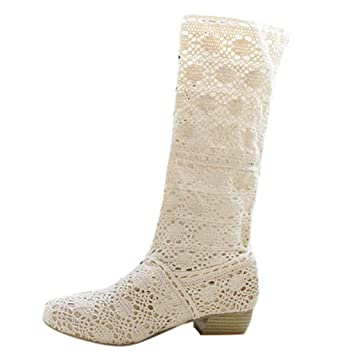 LuckyGirls Botas Mujer Moteras de Caña Alta Zapatillas Crochet Heuco de Floral Zapatos Informales