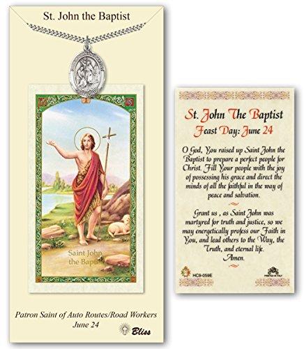 Pewter Saint John the Baptist Medal with Laminated Holy Prayer Card ()