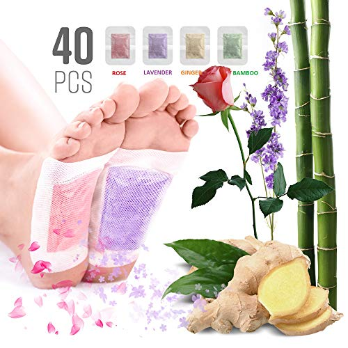 Premium Natural Oil Aroma Foot Pads Upgraded 2018 2 in 1-40 Packs (10 Each Flavor): Ginger, Lavender, Bamboo & Rose -Rapid Foot Care, High-Efficiency Body Help. from Earthener