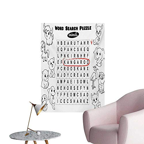 Word Search Puzzle Photographic Wallpaper Black and White Game Sheet Design Finding The Names of AnimalsBlack White Red W32 xL36 Wall Poster
