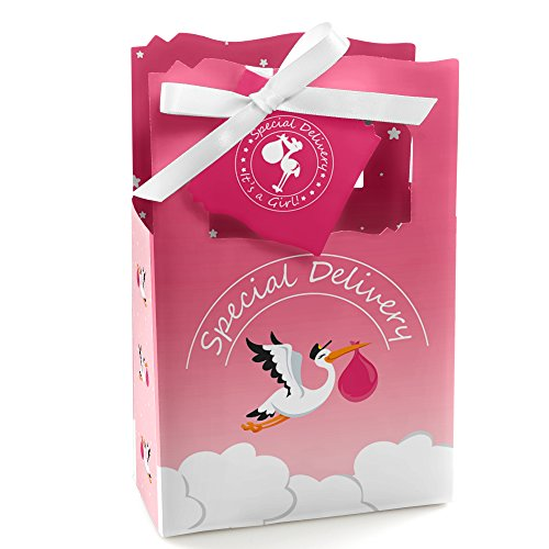 Gift Delivery Stork (Big Dot of Happiness Girl Special Delivery - Pink It's A Girl Stork Baby Shower Favor Boxes - Set of 12)