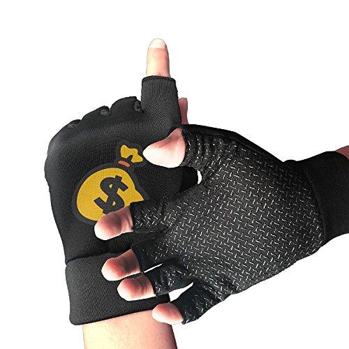 Money Dollar Sign Half Finger Sports Exercise Gloves Mens/Womens Fitness ANTI SLIP Workout Gloves Outdoor Sports Anti-slip Gloves