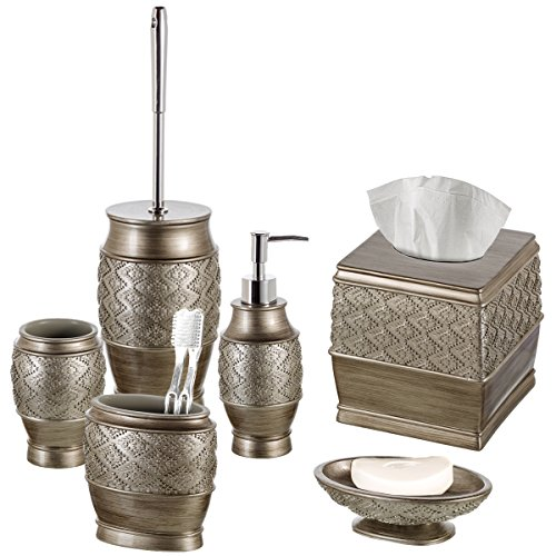 Dublin 6-Piece Bathroom Accessories Set, Includes Decorative Countertop Soap Dispenser, Soap Dish, Tumbler, Toothbrush Holder, Tissue Box Cover and Toilet Bowl Brush (Brushed Silver)