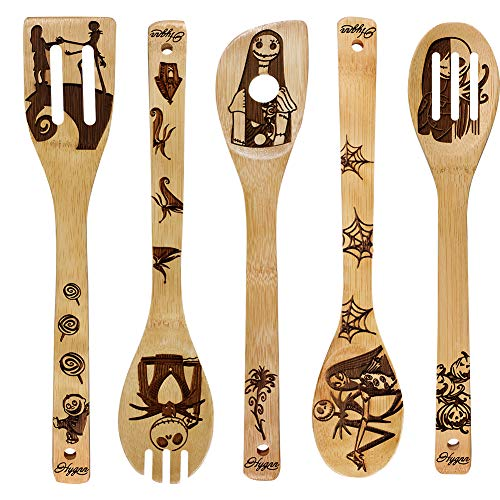 Nightmare Wooden Spoons Great Utensil Set Fun Gift Idea Serving Utensils Burned Bamboo Spoons Kitchen House Warming Present Slotted Spoon 5 Piece]()