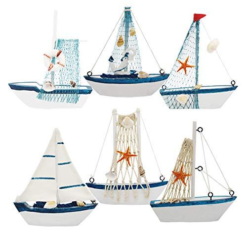 Wisonique Wooden Sailing Boat Model, 6 Pack Vintage Nautical Mini Wooden Sailboat Decoration, Mini Decorative Sailboat Model for Home Ornament -