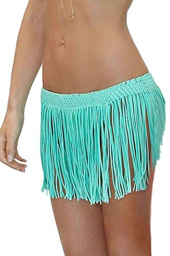 Crisp - Falda con flecos, color cian, talla 36 a 46: Amazon.es ...