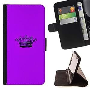 For Sony Xperia Z3 D6603 Case , Corona púrpura minimalista Pen- la tarjeta de Crédito Slots PU Funda de cuero Monedero caso cubierta de piel