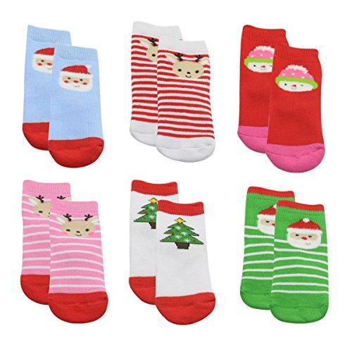 Zando 6 Pack Baby Boys Girls Toddler Lovely Cute Pattern Walker Warm Socks 6 Pack-Christmas B M(1-3 years old)