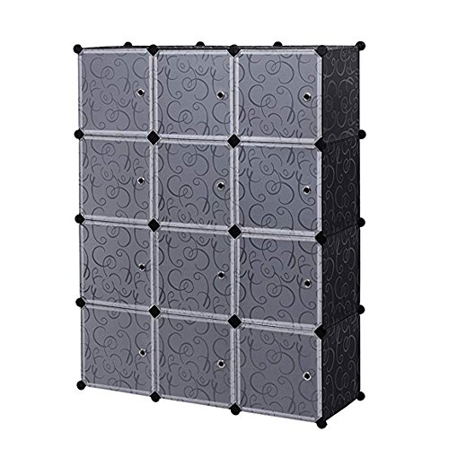 Shop Beyond Borders 12 Cubes Closet Organizer 4-Tier DIY Storage Cabinets Cube Organizer Office Bookcase Storage Racks with Door (Black) by Shop Beyond Borders