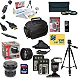 47th Street Photo Pro Shooter Accessory Kit for the Canon 350D, 400D, XT, XTI - Kit Includes: 64GB High-Speed SDXC Card + Card Reader + 2 Extended Life Batteries + Travel Charger + 58mm 0.43x HD2 Wide Angle Macro Fisheye Lens + 58mm 2.2x HD2 AF Telephoto Lens + 58mm 3 Piece Pro Filter Kit (UV, CPL, FLD Lens) + HDMI Cable + Padded Gadget Bag + Professional 60