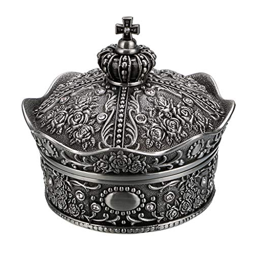 Antique Silver Jewelry Boxes - Hipiwe Vintage Jewelry Box, Antique Crown Design Trinket Treasure Chest Storage Organizer,Metal Earrings/Necklace/Ring Holder Case, Keepsake Giftb Box for Girls Women (Medium)