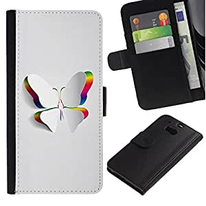 All Phone Most Case / Oferta Especial Cáscara Funda de cuero Monedero Cubierta de proteccion Caso / Wallet Case for HTC One M8 // Minimalist Beautiful White Butterfly