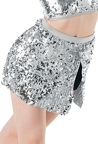 Metallic Sparkle Briefs - Balera Dance Skirt Ultra Sparkle with Built-In Shorts Silver Adult Small