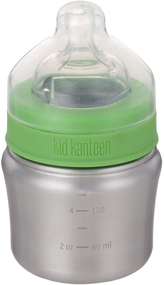 Klean Kanteen Kid Baby Bottle with Lid, Brushed Stainless, One Size/5 oz