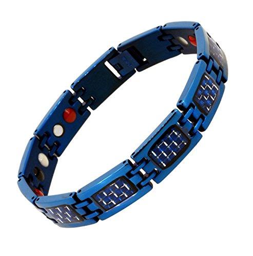 (Mandala Crafts Blue Titanium Bracelet Magnetic Wristband for Men, Carbon Fiber Inlay, Ion Germanium Magnet 4 Elements (Blue Silver Tone))