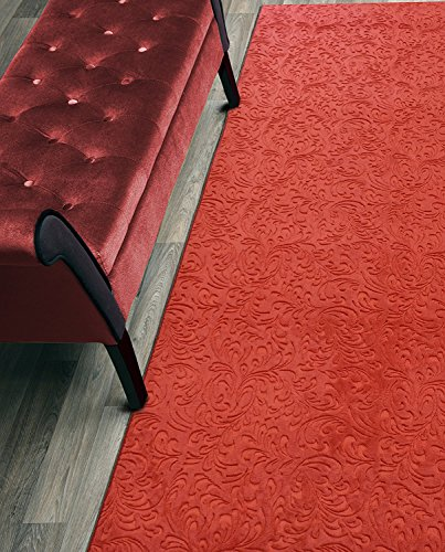 Custom Size Hallway Runner Rug, Slip Resistant, 31 Inch Wide X Your Choice of Length, Bright Red, 31 inch X 4 feet (Rugs Kitchen Red Solid)