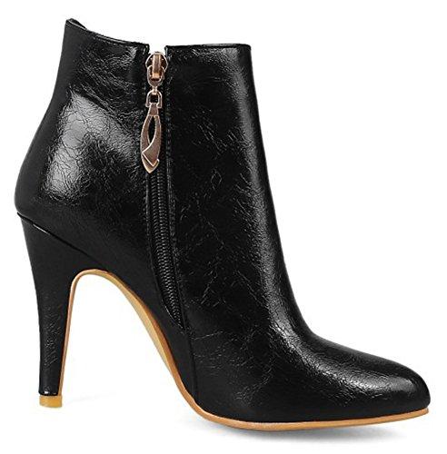 Aisun Womens Elegante Inside Zip-up Stiletto Hoge Hak Booties Puntige Teenlaarzen Schoenen Met Strikjes Zwart